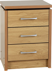 Charles 3 Drawer Bedside Chest in Oak Effect Veneer with Walnut Trim
