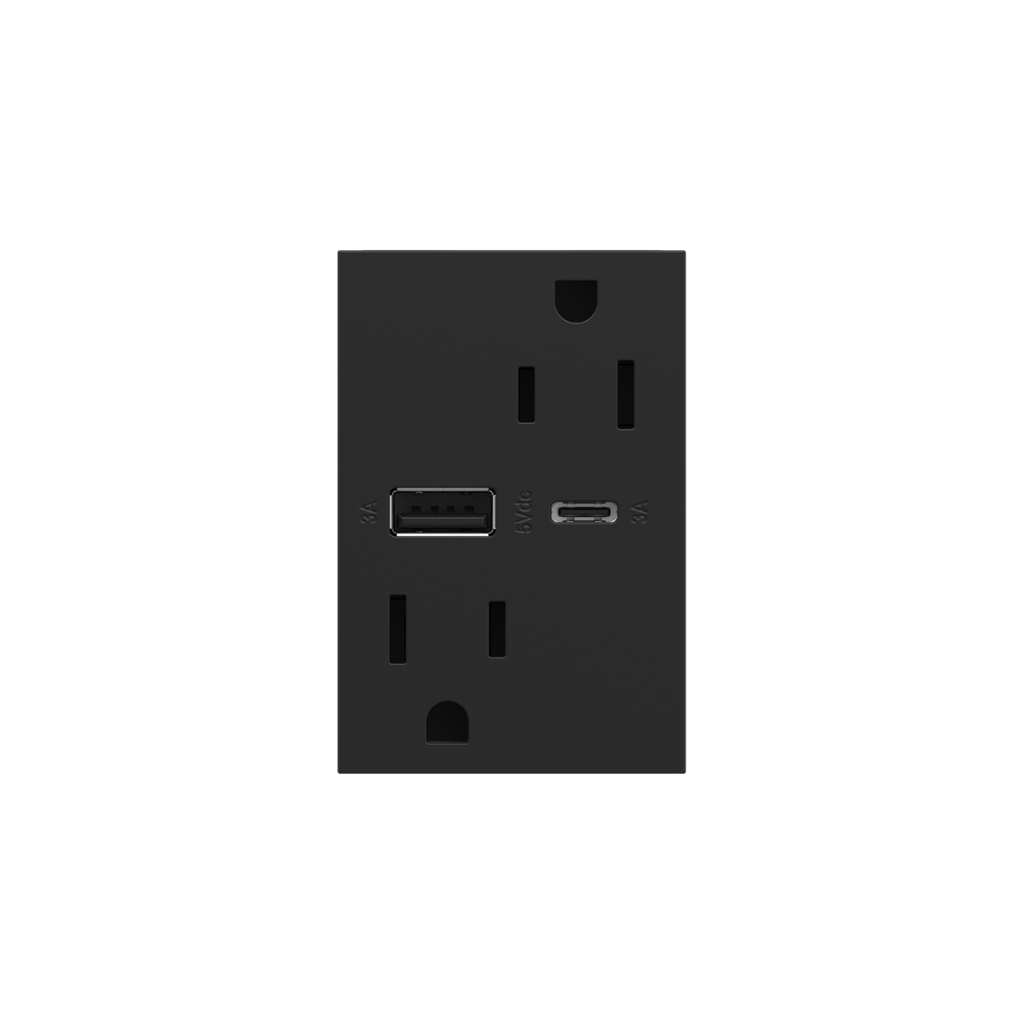 Dual-USB, 15A, Tamper-Resistant, A/C USB Hybrid Outlet, Graphite
