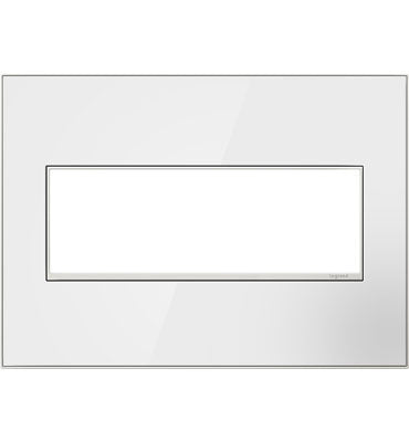 Mirror White-on-White,  3-Gang Wall Plate