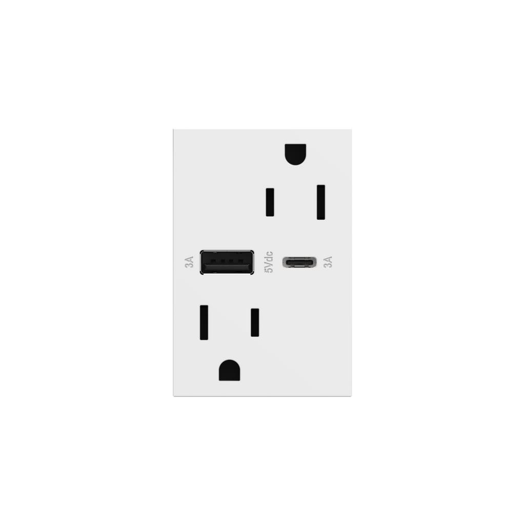 Dual-USB, 15A, Tamper-Resistant, A/C USB Hybrid Outlet, White
