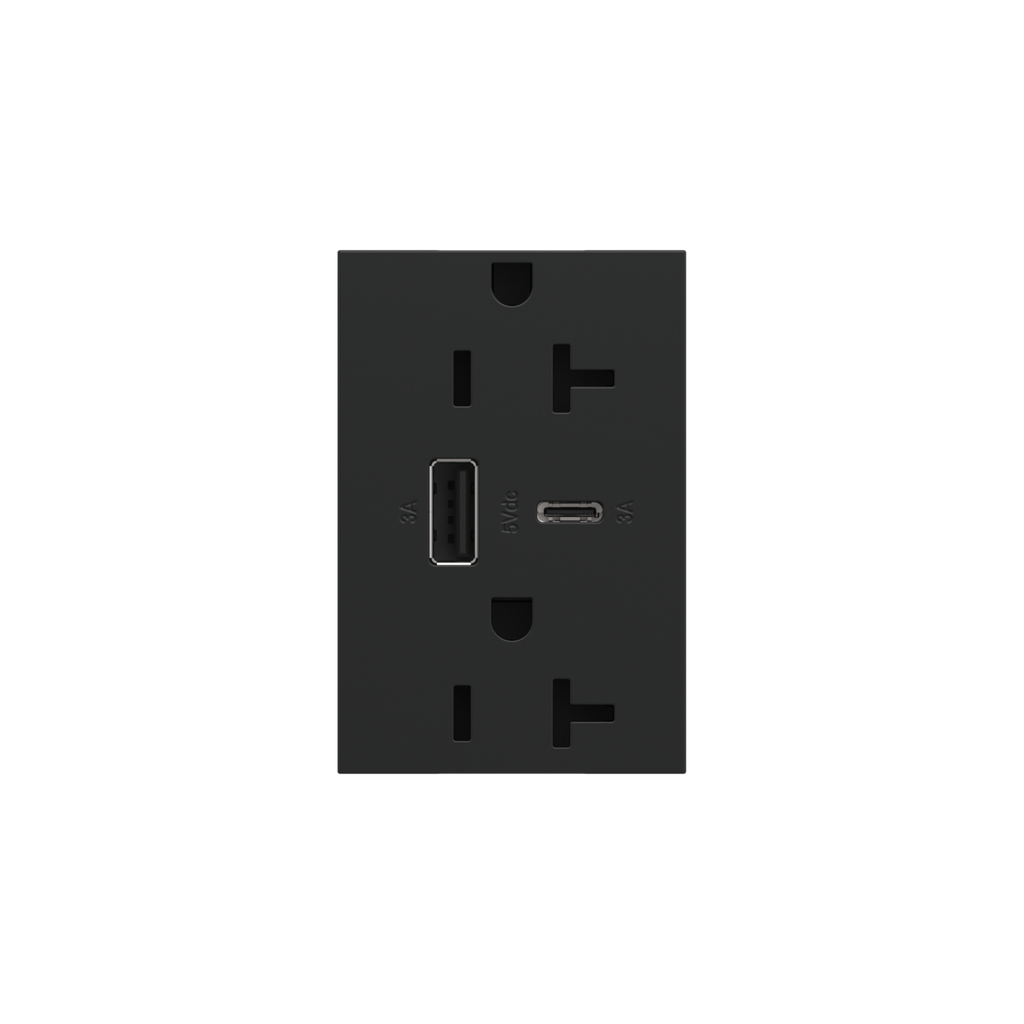 Dual-USB, 20A, Tamper-Resistant, A/C USB Hybrid Outlet, Graphite