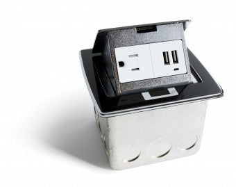 Countertop boxes with USB