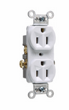 Commercial Spec Grade Receptacle, Side Wire, 125V, White