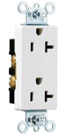 Heavy-Duty Decorator Spec Grade Receptacles, Side Wire, 20A, 125V,
