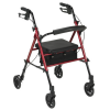 Aluminum Rollator, 6 inch Casters Red