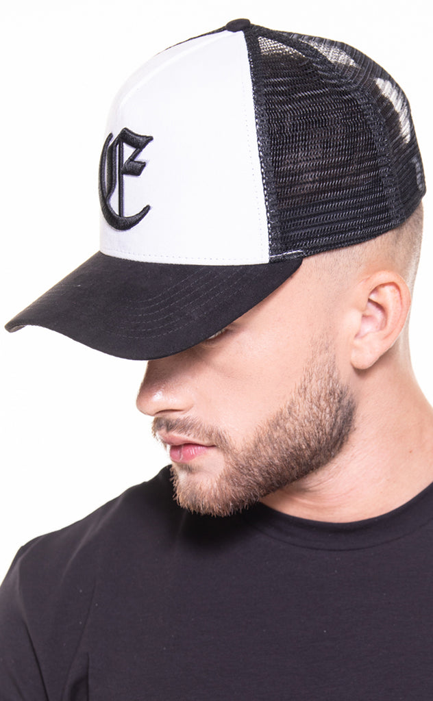 CORE SUEDE TRUCKER CAP - WHITE/BLACK
