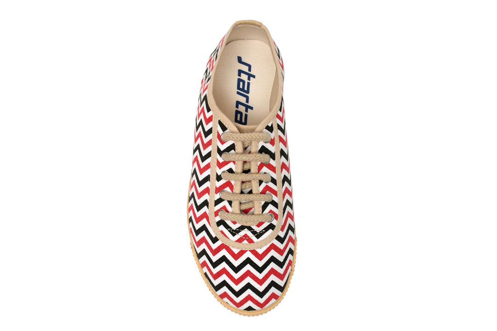 Startas ZigZag- Black and Red Chevron Print Handmade Canvas Sneakers