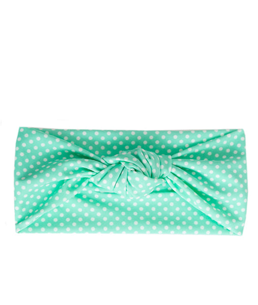 Tied & Knotted Headband - Minty Polka Dot