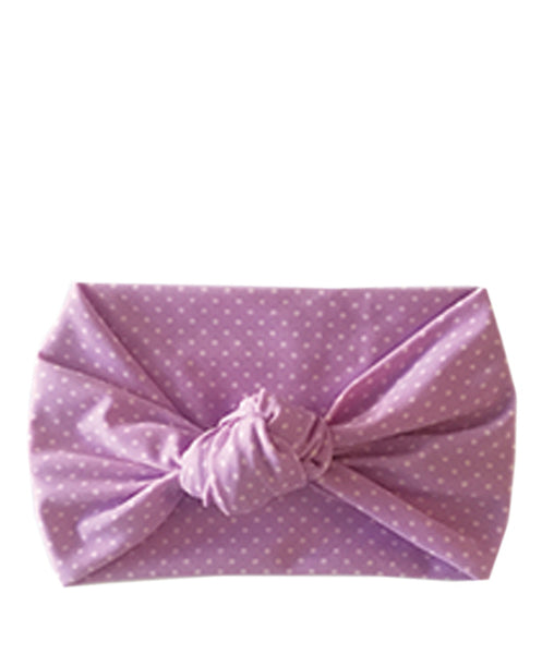 Tied & Knotted Headband - Purple Polka Dot