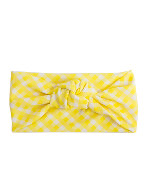 Tied & Knotted Headband - Yellow Gingham
