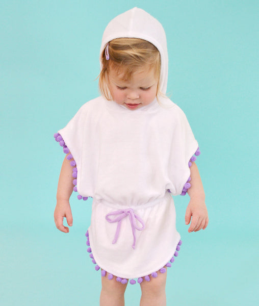Hooded Poncho Dress - Purple
