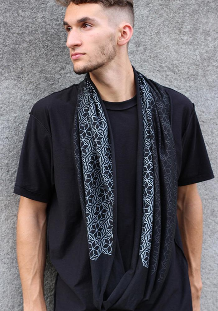 Fade to Black on Black Infinity Scarf