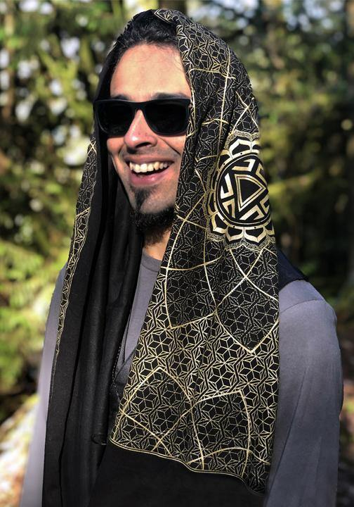 sacred geometry mens burning man scarf