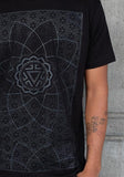 Sacred geometry bandana burning man black on black