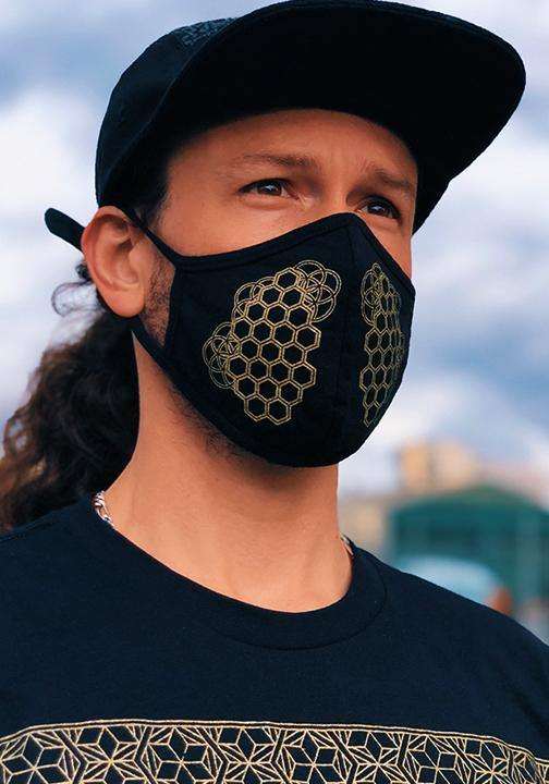 Sacred geometry honeycomb face mask