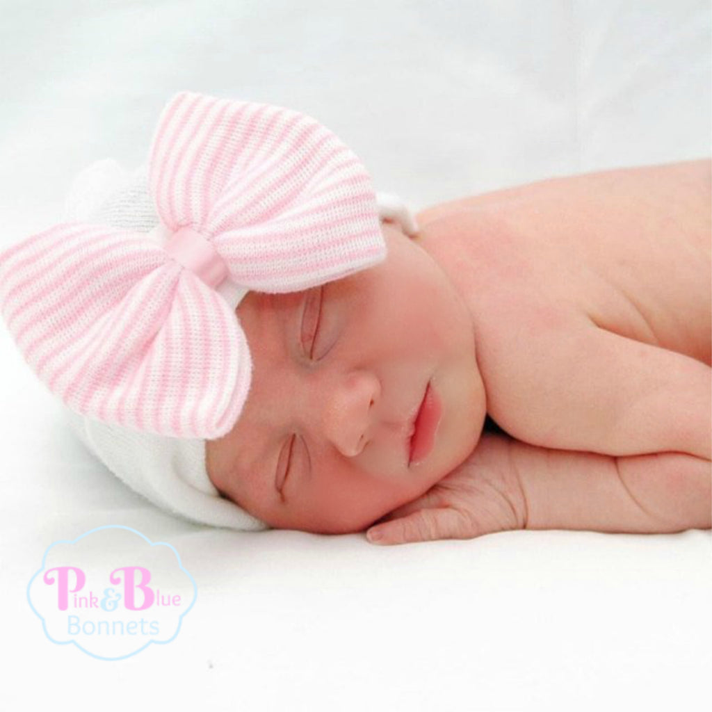 Pink Striped Bow Hospital Hat