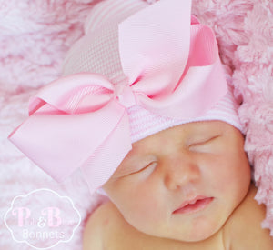 Pink White Striped Newborn Hospital Hat with Classic Pink Bow
