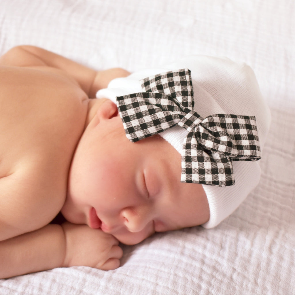 Natalia Hospital Hat - Gingham Bow