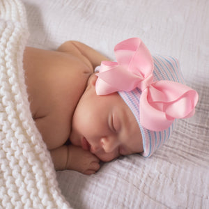 Pink Blue Striped Hospital Hat with Classic Pink Bow