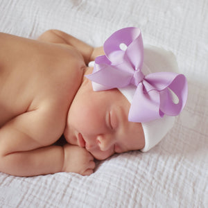 White Newborn Hospital Hat with Classic Purple Lavender Bow