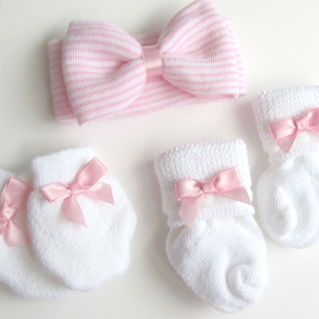 Baby Girl Headband Mittens Socks Gift Set