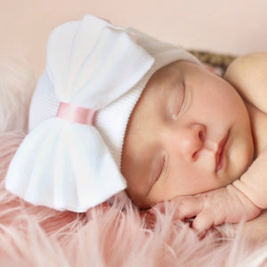 Olivia Hospital Hat with Bow - White