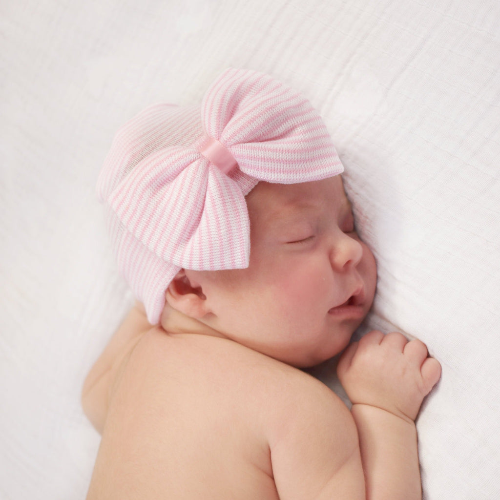 Pink and Stripe Newborn Hat with Bow