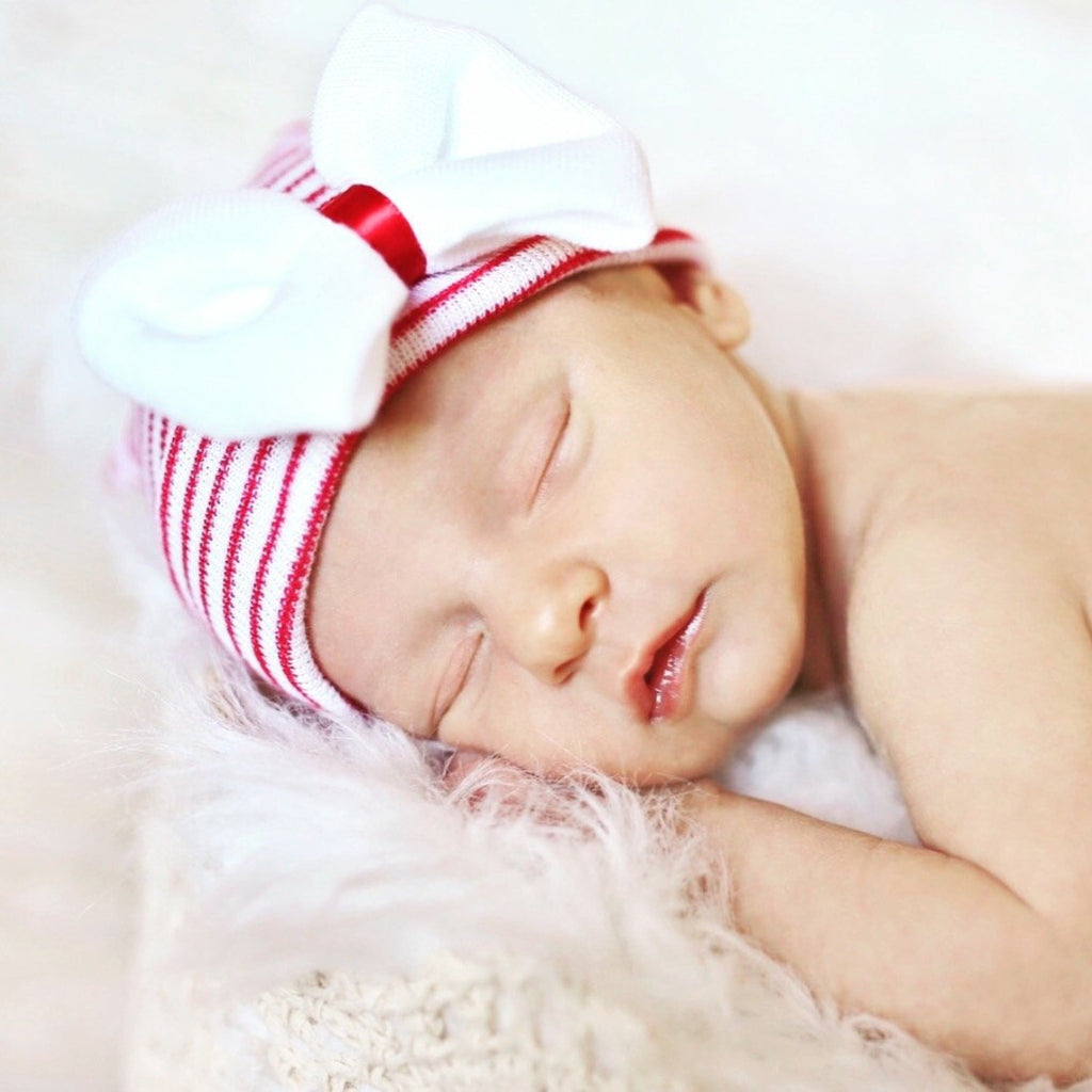 Christmas Newborn Hospital Hat With Bow