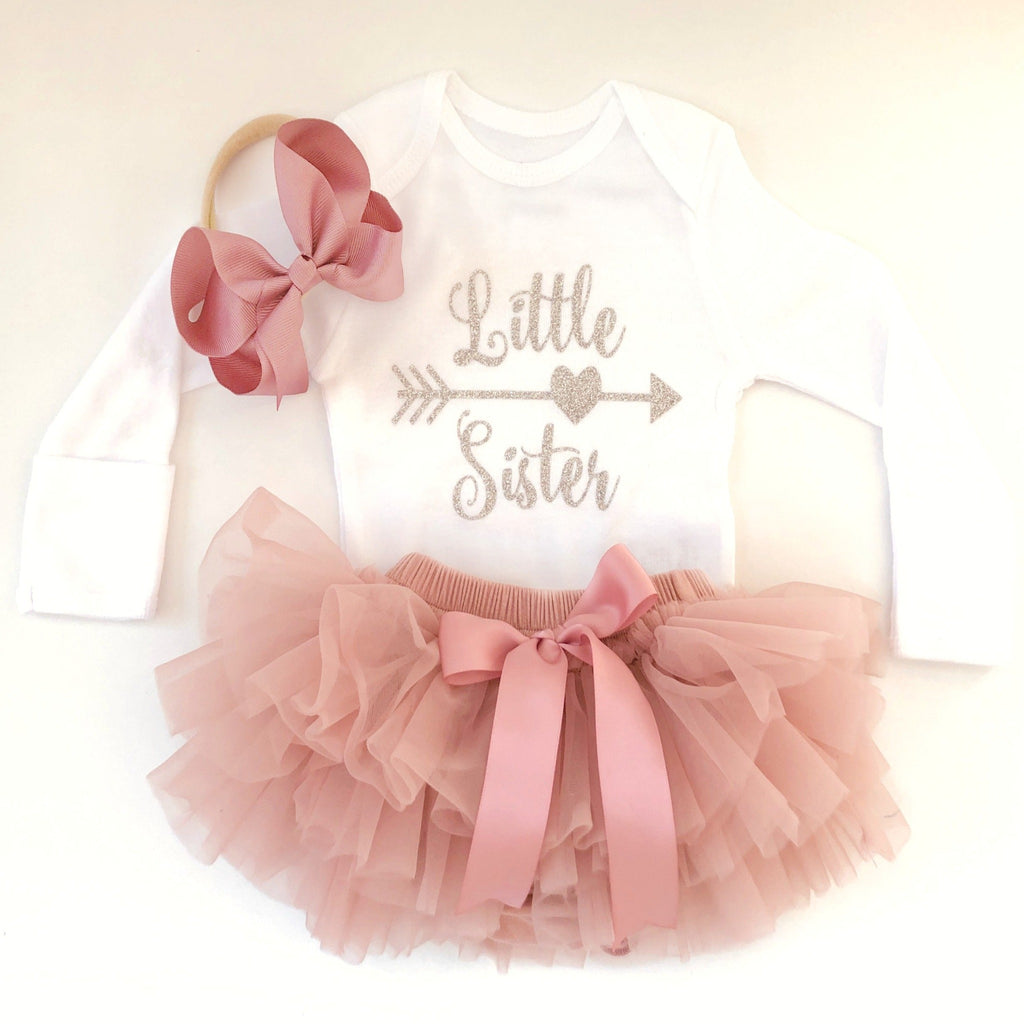 Newborn Little Sister outfit, Baby girl coming home outfit, Baby girl hospital outfit