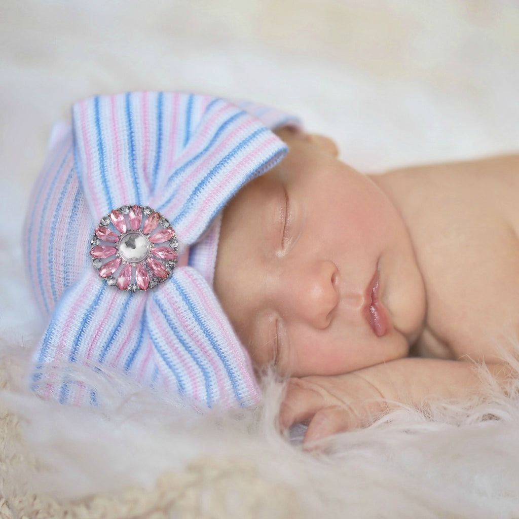 Born to Sparkle Hospital Hat - Pink and Blue Stripe