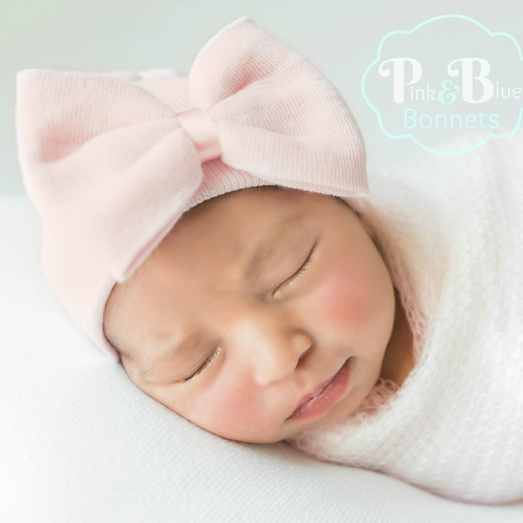 Blush Pink Hospital Hat with Bow