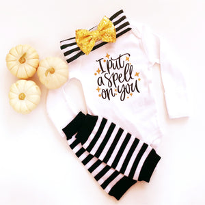 Baby Girl Halloween Outfit for Newborn Girls, I put a spell on you shirt