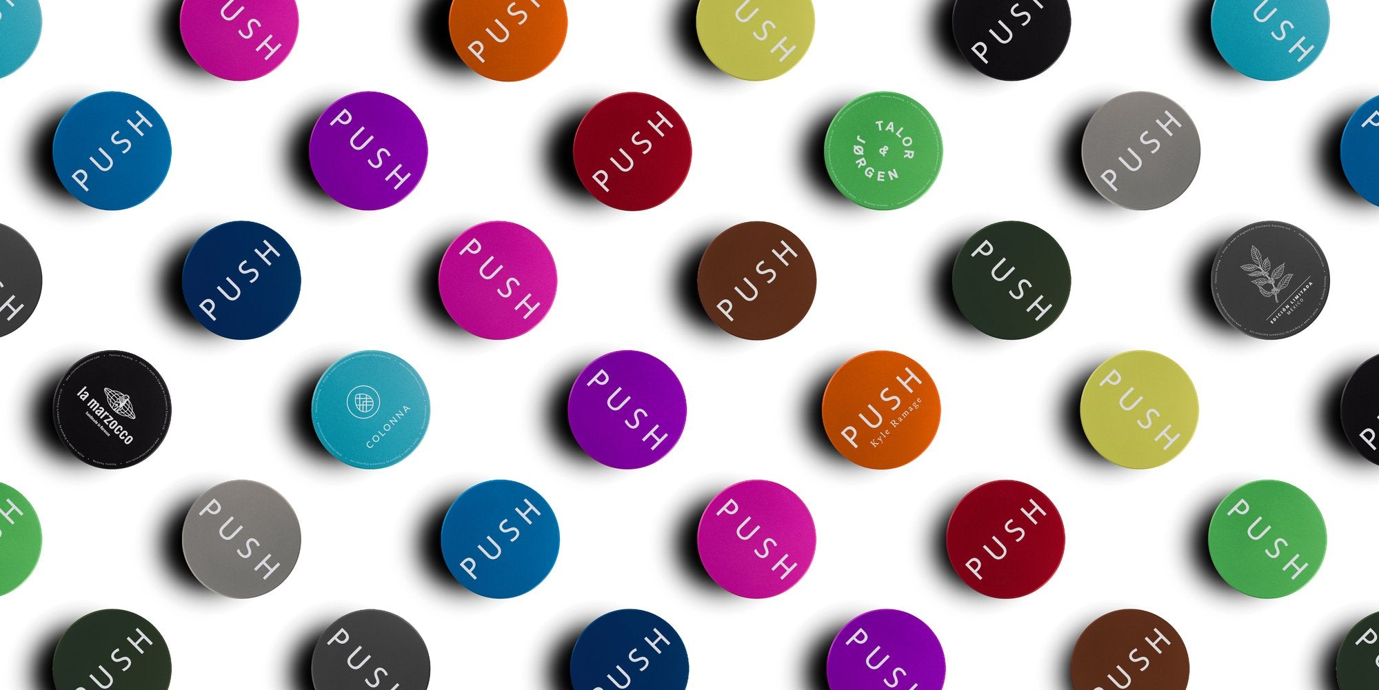 Espresso PUSH Coffee tamper 14 new colours customised personalised