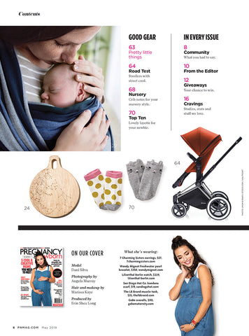 Pregnancy and Newborn Magazine May 2018 Issue Content Page Featuring Catwalk Earrings by 7 Charming Sisters Jewelry Company
