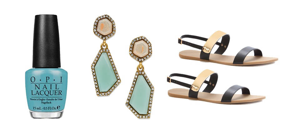 Crystal Drop Earrings With Black Sandals