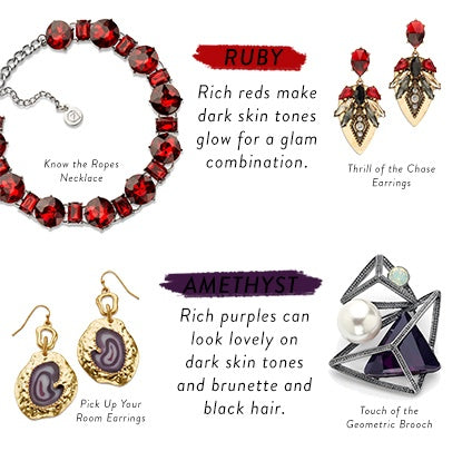 Ruby and Amethyst Colored Jewery for an Edgy, In-Style Look