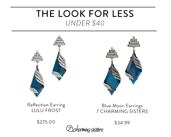 Affordable Fall Jewelry -- Vintage Blue and Silver Crystal Earrings
