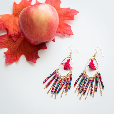 Beaded Fringe Earrings - 7 Charming Sisters