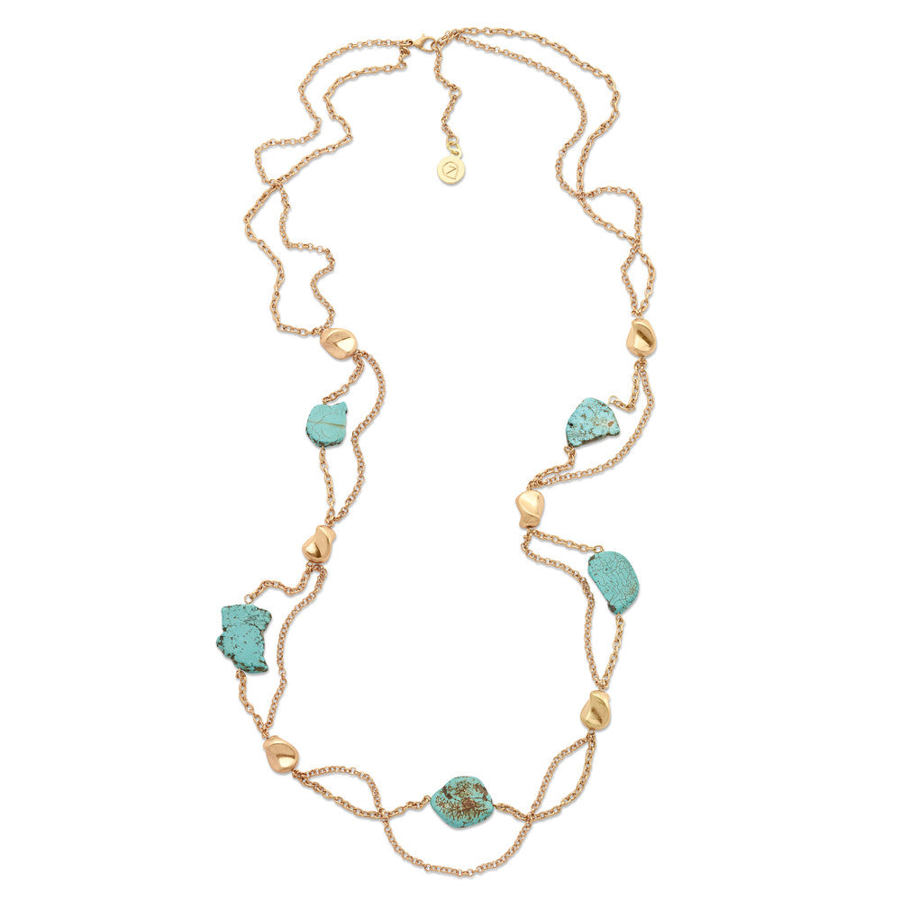 Turquoise Necklace With Gold Chain