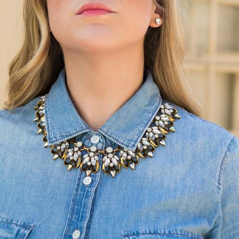 Crystal Floral Pendent Necklace - Button Down