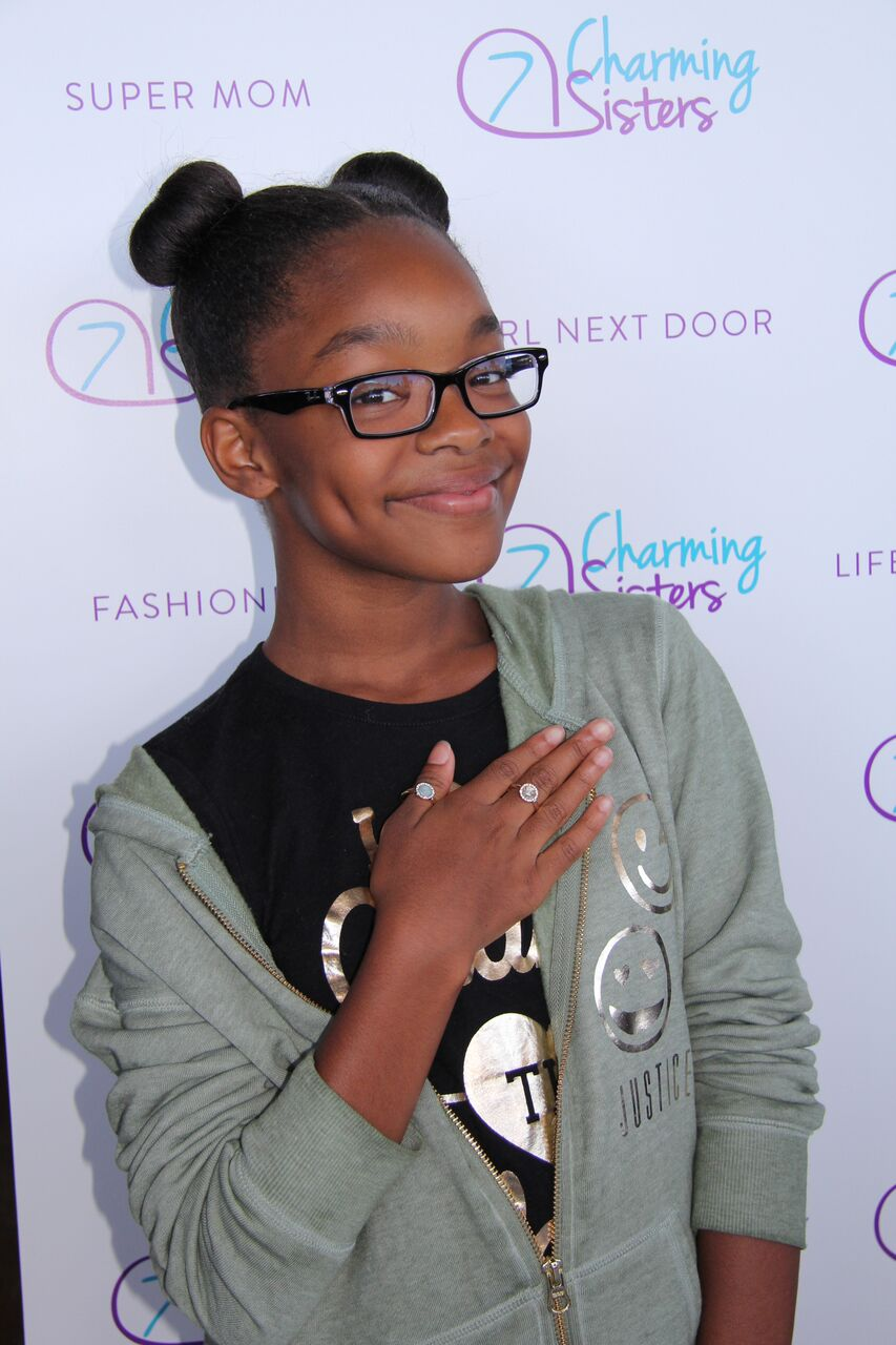 Marsai Martin from Black-ish with 7 Charming Sisters jewelry company at 2016 Emmys