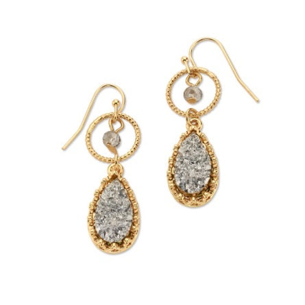 Rock Hard Earrings With Crystal and Gold Druzy
