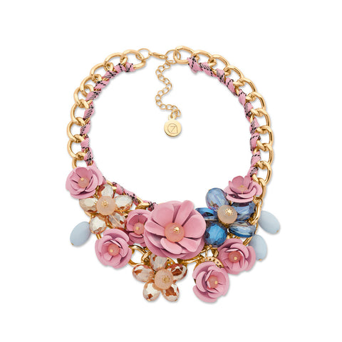 Pink Flower Crystal Bib Statement Necklace | 7 Charming Sisters