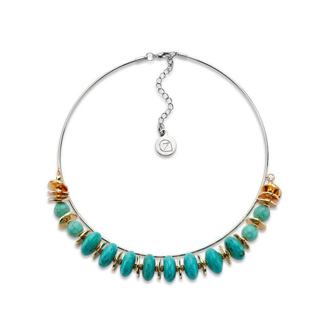 Turquoise Stone Choker Necklace | 7 Charming Sisters