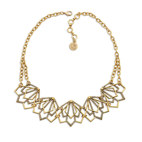 Angular Vintage Gold Bib Necklace