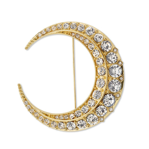 Gold and Crystal Brooch Pin