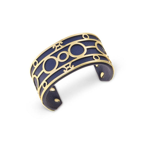 Blue & Gold Leather Cuff Bracelet