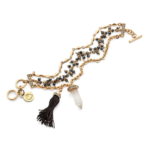 Gray and Gold Layered Tassel Charm Bracelet