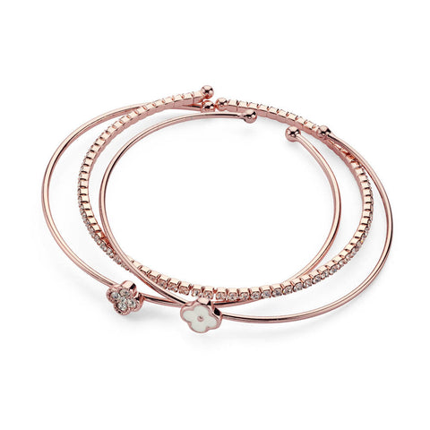 White Rose Gold Bracelet Set