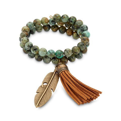 Green and turquoise beaded and fringed bracelet for women